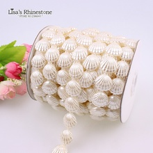 17mm 0.6 yard Shell Ivory Craft Imitation Pearl Beads Cotton Line Chain DIY Garland Wedding Party Decoration Accessory