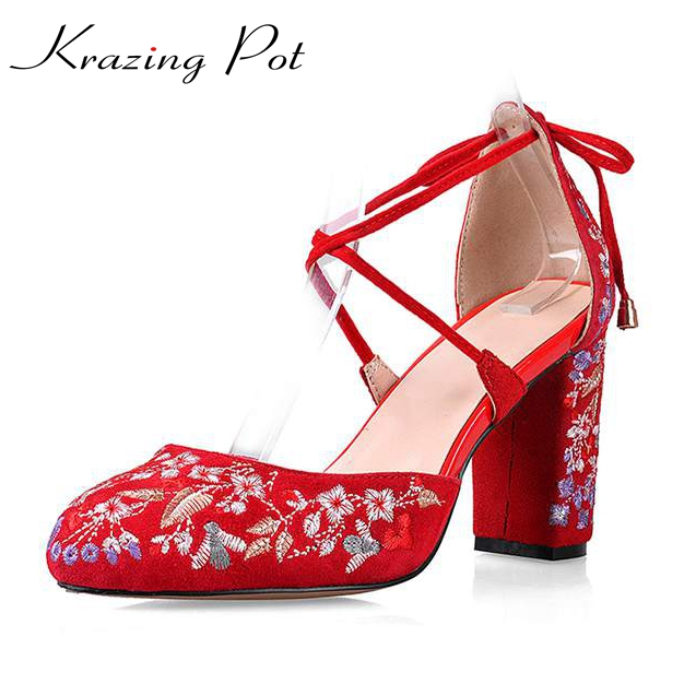 2017 krazing Pot New women pumps high heels round toe wedding big size Chinese style embroidery bowtie office beauty shoes L38 big size high heels round toe women platform shoes cool casual white lace wedge black creepers medium pumps mesh chinese fashion