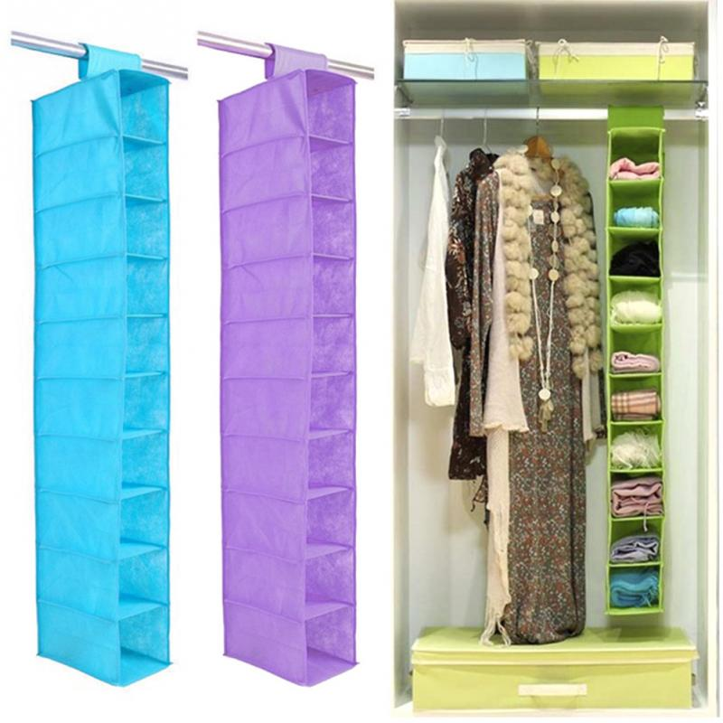Practical Tidy Home Foldable Storage Bag 10 Compartments Non Woven 10  Layers Small Clothes Hanging Storage