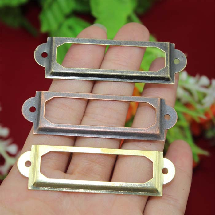 30Pcs Antique Iron Label Frame Card Holder drawer box case cabinet cupboard carpenter repair decoration Size