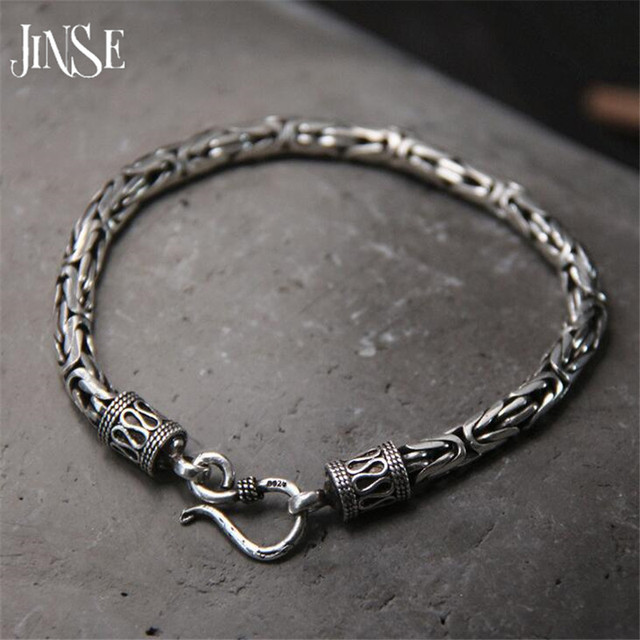 cb86c96777 5MM Width Male Bracelet 925 Sterling Silver Bangles Men Jewelry Thai Silver  Rope Chain 19CM 22CM Fine Present For Boyfriend