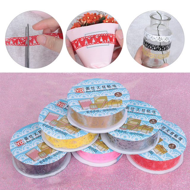 1 roll Lace Flower Paper Masking Tapes Gift Scrapbooking DIY Self Adhesive Tape Crafts Diary Photo Album Decorative Stickers
