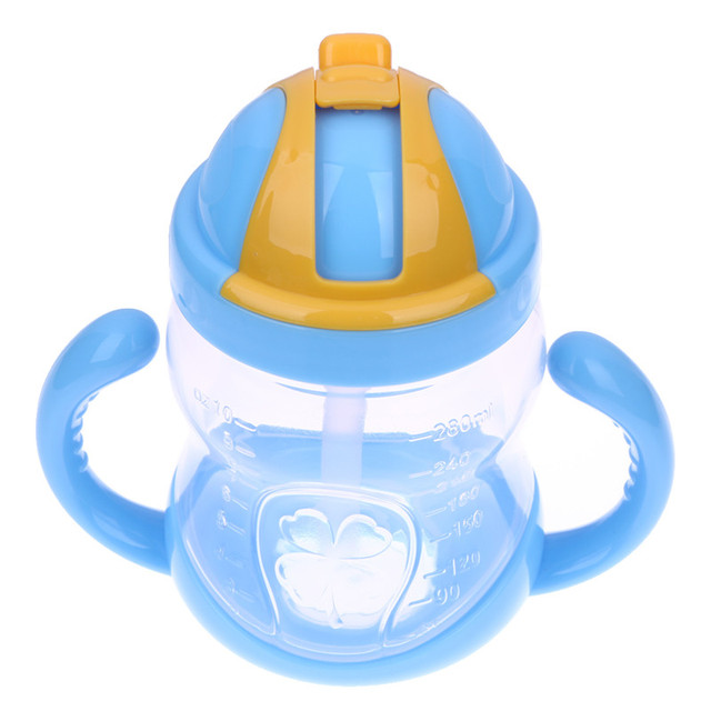 280ml Cute Baby Cup Kids Children Learn Feeding Drinking Water Straw Handle Bottle mamadeira Sippy Training Cup Baby Feeding Cup 4