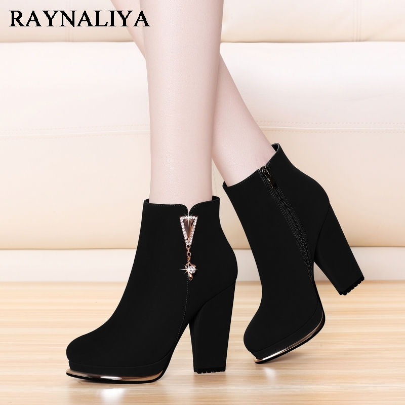 Genuine Leather Cow Suede Chelsea Boots For Women Casual Round Toe High Heel Winter Platform Mid Calf Boot Woman Shoes YG-A0045 stylish women s mid calf boots with suede and platform design