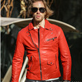 2017 New Men Red Mens Leather Biker Jacket Diagonal Zipper Genuine Sheepskin Men Winter Slim Fit Motorcycle Coat FREE SHIPPING