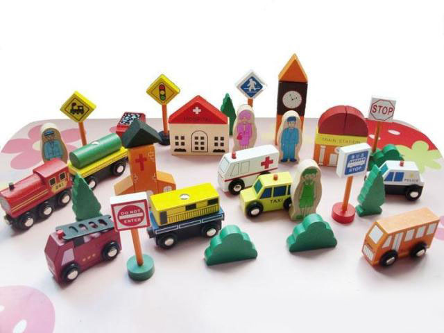 Wooden 32pcs assemblage child puzzle car traffic light child toy gift
