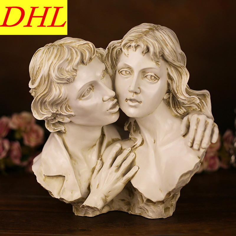Kiss Couples Bust Figurine Gypsum Statue Resin Art & Craft Home Continental Decorations Couples Series L1928 greek mythology goddess aphrodite figurine hephaistos gypsum statue resin art