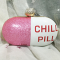 Fashion design stitching sequins letter chill  pills modeling party clutch evening bags women's handbag chain shoulder bag purse