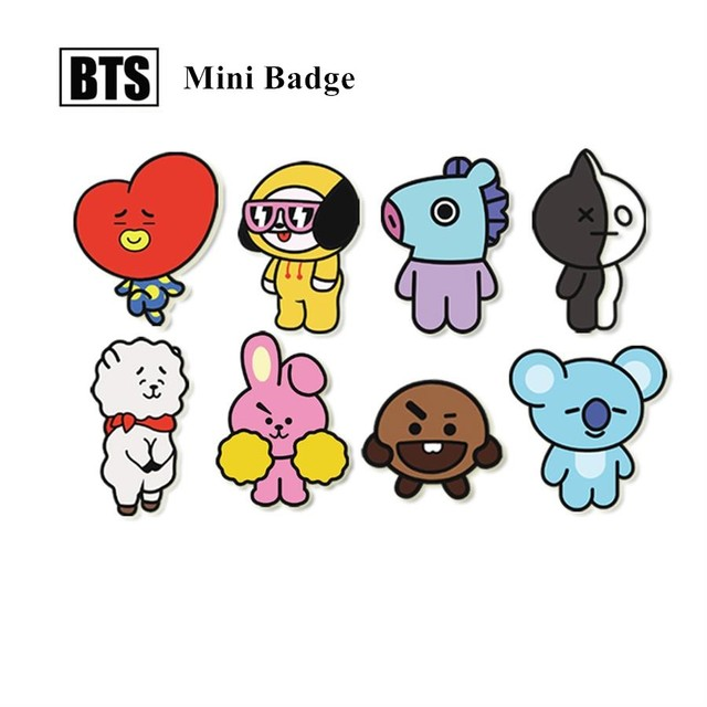 Kpop Bts Bt21 Badge Tata Jimin Cartoon Acrylic Brooches