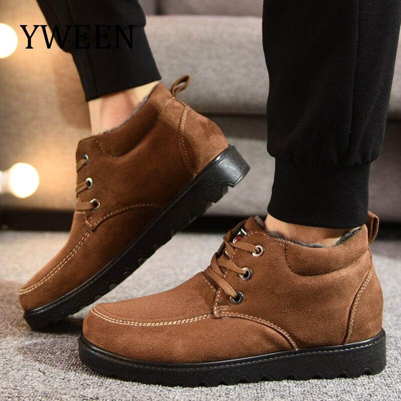 YWEEN Chegam Novas Dos Homens de Inverno dos homens Botas de Neve Sólida Botas Slip-on Ankle Boots Sapato Cor Quente À Prova D' Água para Homens Plus Size 39-45