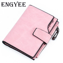 ENGYEE Nubuck Leather Women Short Wallets Ladies Fashion Small Candy Color Wallet Coin Purse Female Card