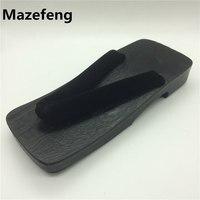حار بيع الرجال قباقيب خشبية النعال أسود مسطح أحذية رجالية geta اليابانية تأثيري الصنادل zapatos هومبر الحجم 39-44