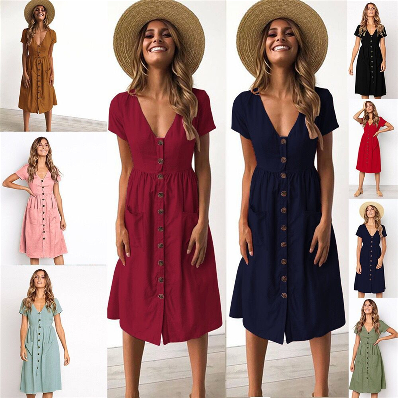 0714d091959 2018 Women s Fashion Summer Short Sleeve V Neck Button Down Swing Midi Dress  with Pockets Beach Summer Dress Women Dresses Plus -in Dresses from Women s  ...