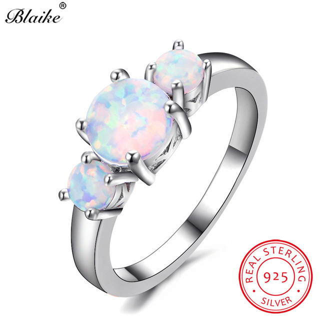 Blaike Round Stone Female White Fire Opal Rings For Women 925 Sterling  Silver Ring Rainbow Birthstone 0e61cff10caa