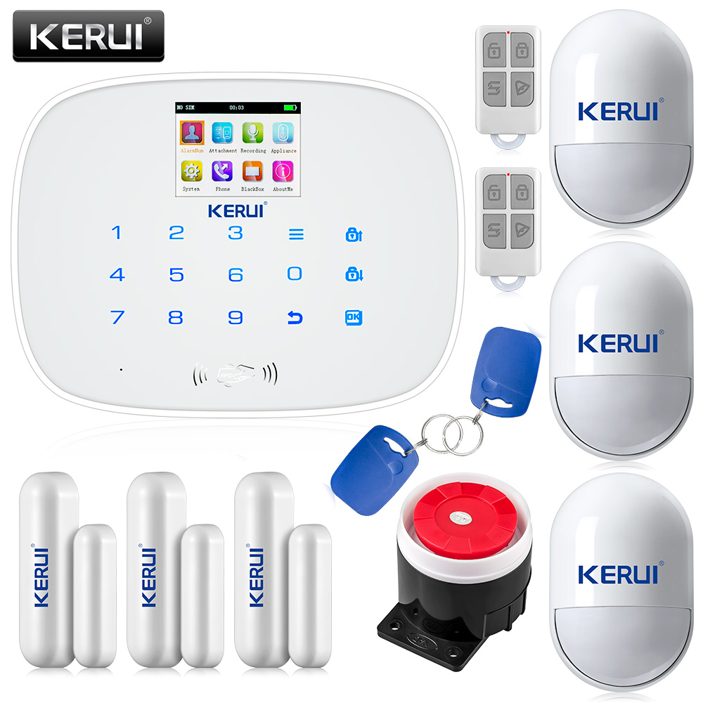 KERUI Black/White intelligent Wireless GMS SMS call Home Burglar Intruder IOS/Android app Security Alarm System Touch Keypad 1m 1 8m 3m e sata esata male to male extension data transfer cable cord for portable hard drive 3ft 6ft 10ft