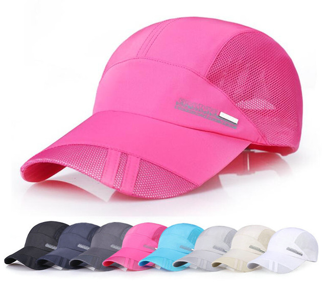 8 colors Men women sport running caps Adjustable outdoor visor cap summer  sun hat breathable mesh hat Baseball mesh caps b80175fb7715