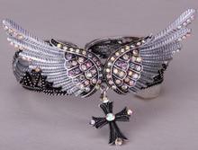 Alas cruz pulsera del estiramiento del brazalete para mujeres niñas joyería del motorista W/cristal plateado plata antigua D02 dropshipping al por mayor