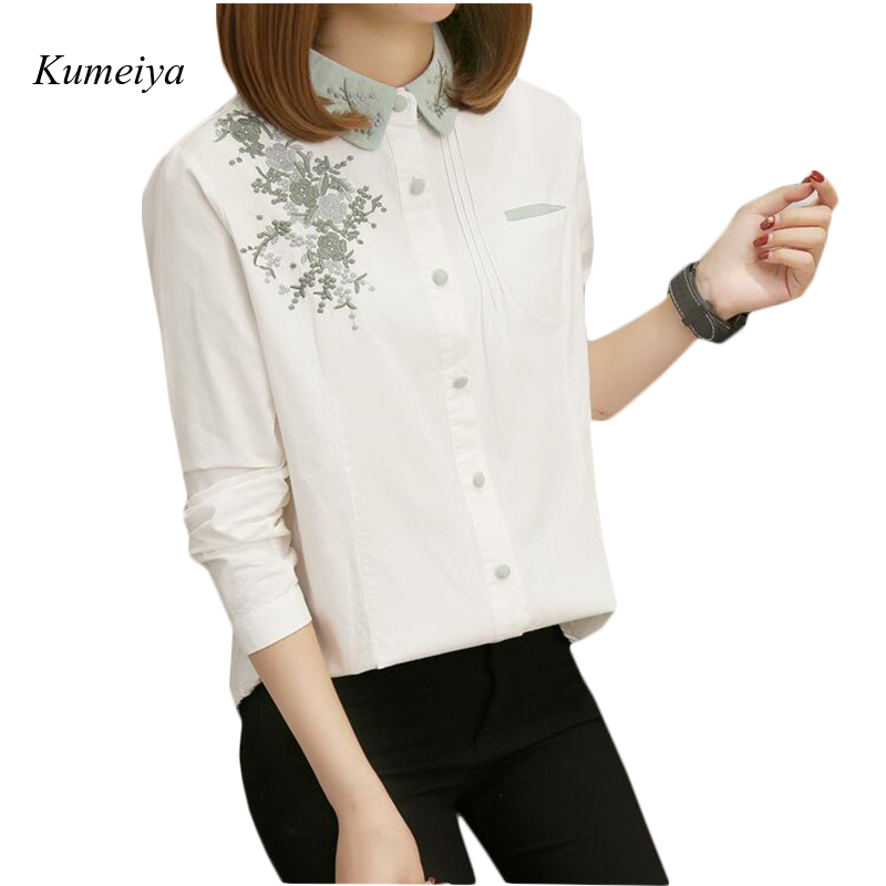 2019 Women   Blouse     Shirt   Embroidery Female White   Blouses     Shirts   Casual Spring Summer Cotton Ladies Tops Women Clothing Blusas