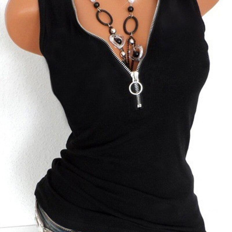 Summer Tee Cotton T-Shirt Women T Shirts Sexy Zipper V Neck Sleeveless Top Black Plus Size 5XL Vest