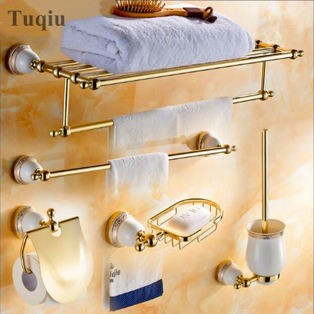 Free Shipping Brass Golden Bathroom Accessories Set Paper Holder