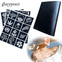 Glaryyears 312 ورقة 1 مجموعة الألبوم بطاقة بت كتاب الوشم الإستنسل لمعان لجسم ماكياج لصق الرسم البخاخة