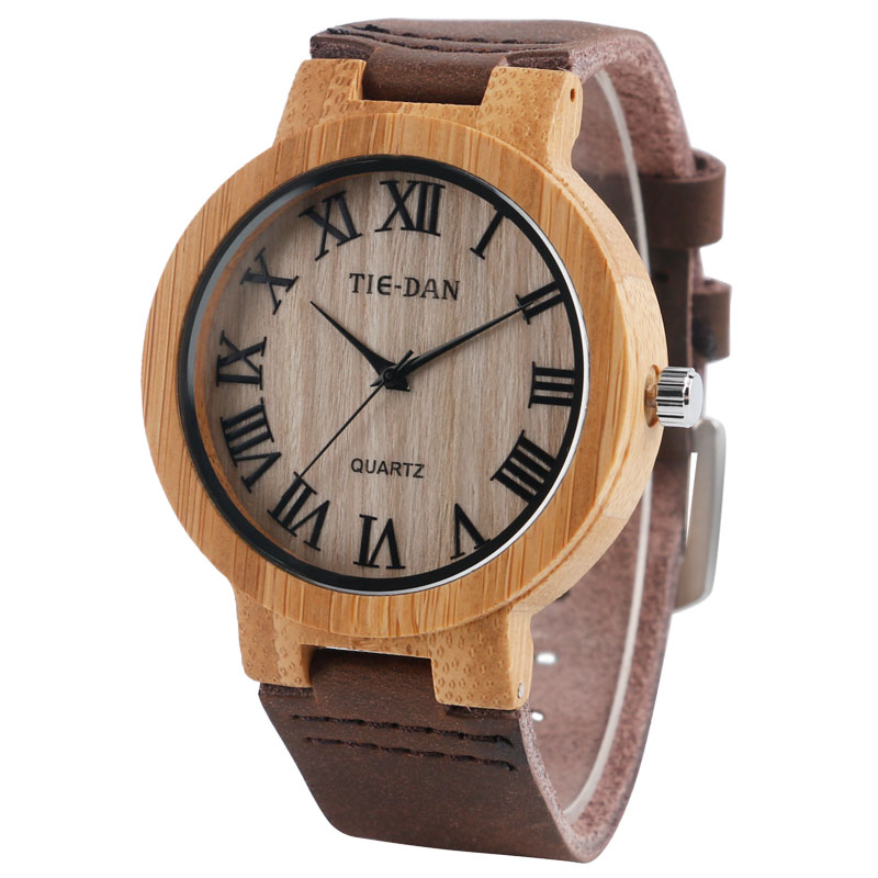 Wooden Genuine Leather Band Strap Men Wrist Watch Sport Simple Casual Women Modern Trendy Bamboo  Nature Wood Hot Unique creative wooden bamboo wrist watch genuine leather band strap nature wood men women quartz casual sport bangle new arrival gift