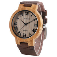 Wooden Genuine Leather Band Strap Men Wrist Watch Sport Simple Casual Women Modern Trendy Bamboo Nature Wood Hot Unique