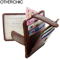 Genuine Leather Slim Credit Card Holder Men Photo Slot Women Vintage Card Holders Wallet Change Purse