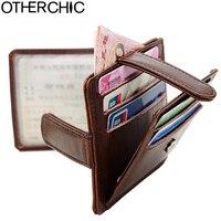 OTHERCHIC Genuine Leather Slim Credit Card Holder Men Photo Slot Women Vintage Card Holder Wallet Change Purse ID Holder 7N03-22
