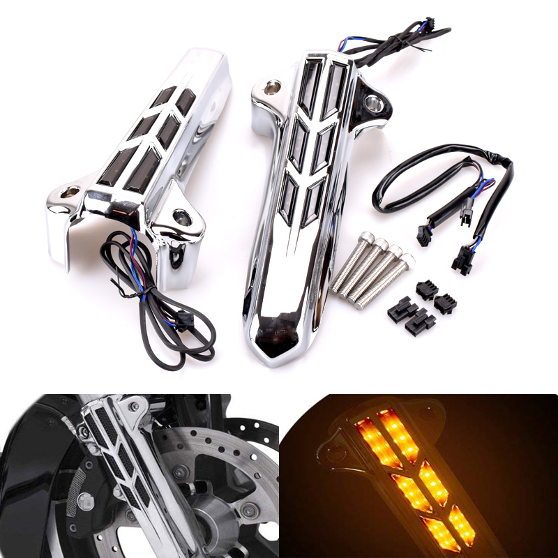 For Harley Road King Glide EFI Street Glide Electra Glide Ultra Classic 2014-2018 Silver Front Lower Fork Leg Covers Slider LED cnc edge cut upper boot slider fork covers for harley davidson touring 1984 2013 electra glide road king street glide motorcycle