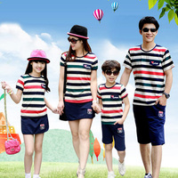 2016 New Matching Mother Daughter Dress Family Clothing Father Son Plus Size XXXL Striped Cotton T
