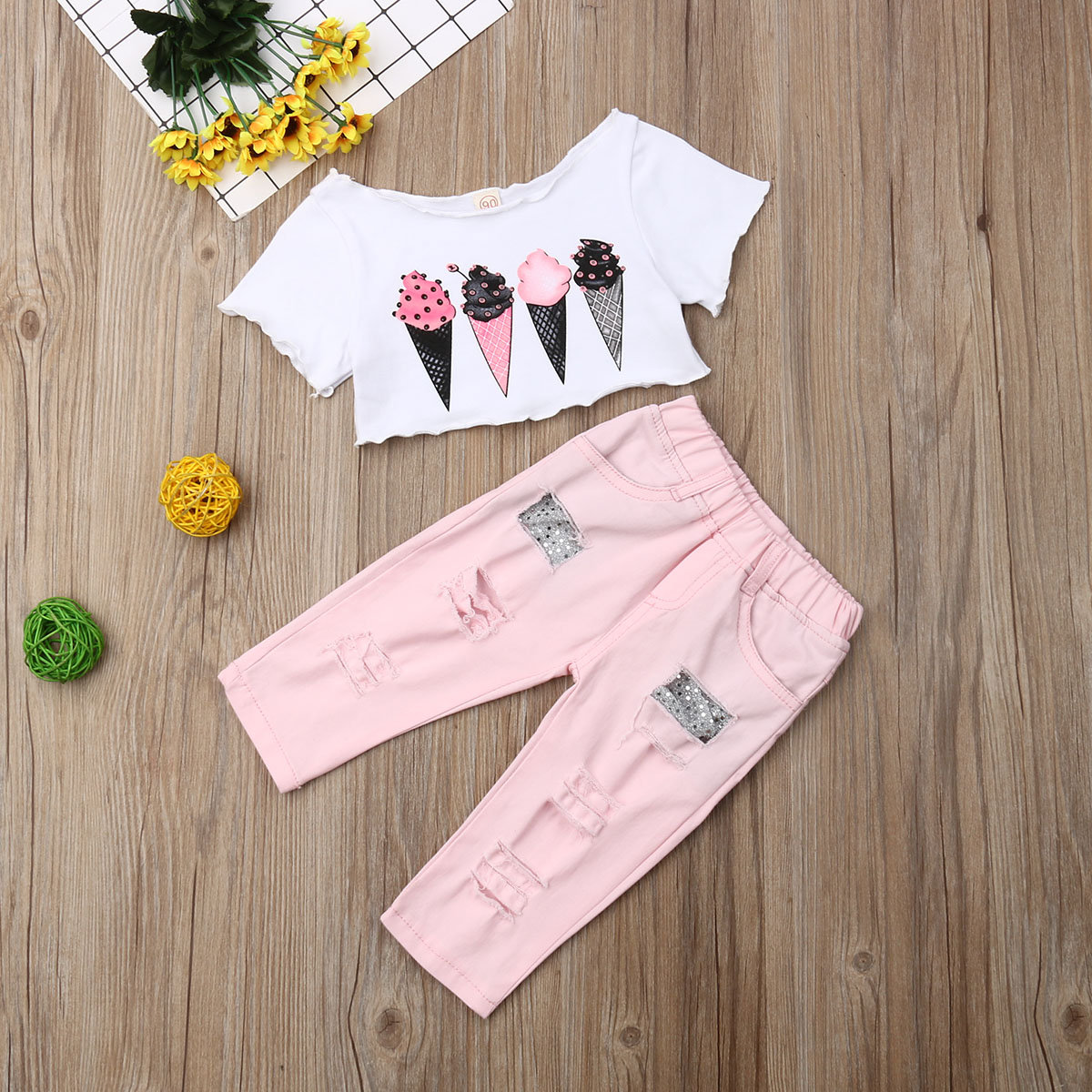 Pudcoco Summer Toddler Baby Girl Clothes Off Shoulder Ice Cream Print Crop Tops Ripped Denim Long Pants 2Pcs Outfits Clothes Set