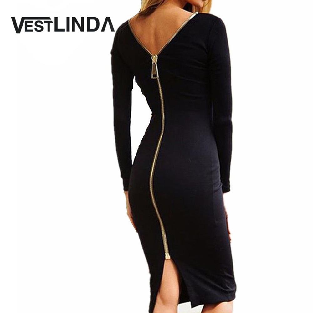 VESTLINDA Bodycon Mantel Kleid Kleine Schwarze Langarm Party Kleider Frauen Zurück Voll Zipper Robe Sexy Femme Bleistift Engen Kleid