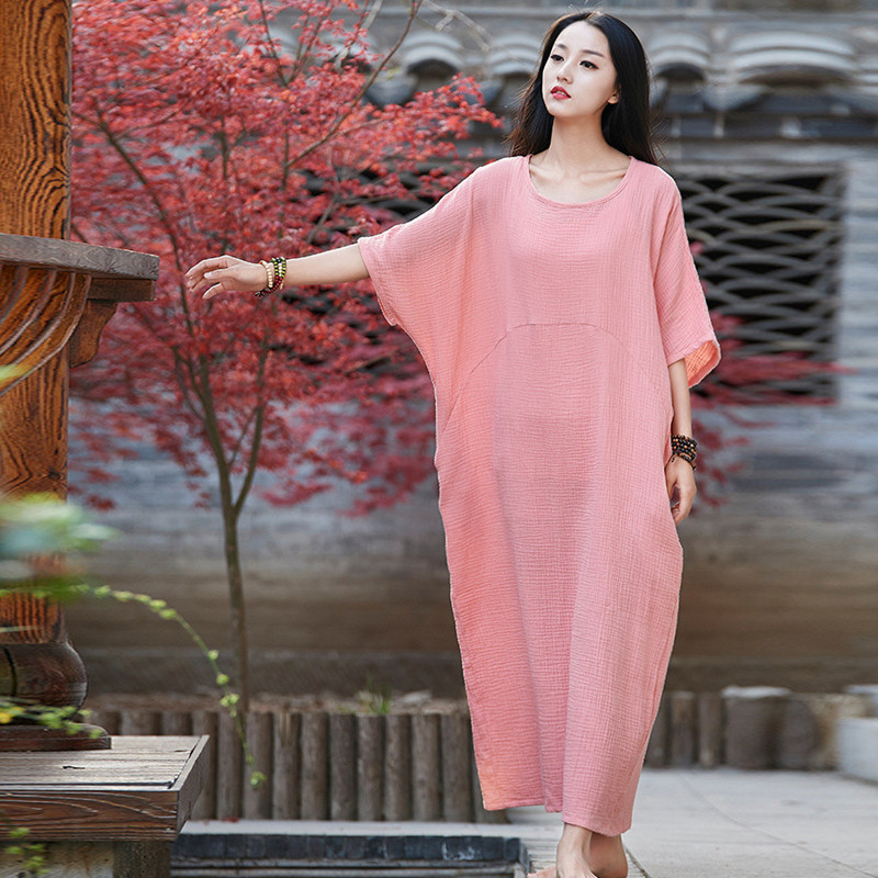 Johnature 2019 Summer Half Batwing Sleeve Cotton Linen Long Dresses New Women O Neck Pullover Plus