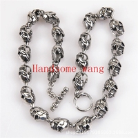 14mm 61cm New Arrive Handsome Mens Boys Chain High Polishing Silver Tone 316L Stainless Steel Skull