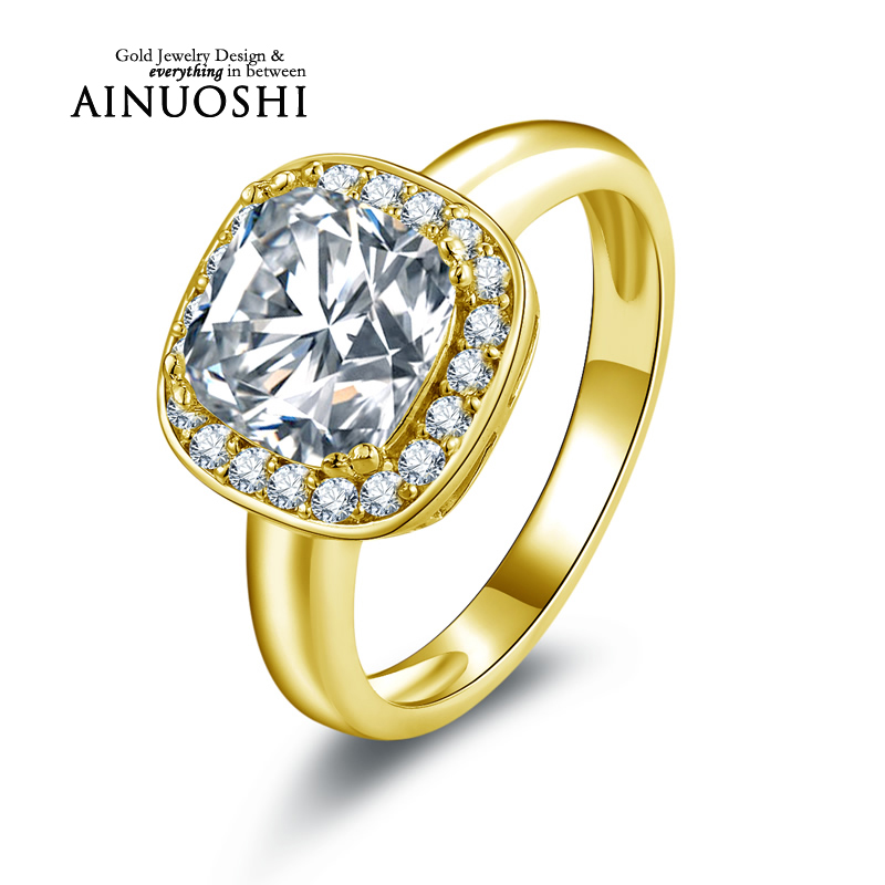 AINUOSHI 10K Solid Yellow Gold Women Engagement Rings Sona nscd Simulated Diamond Jewelry New Wedding Engagement Halo Rings