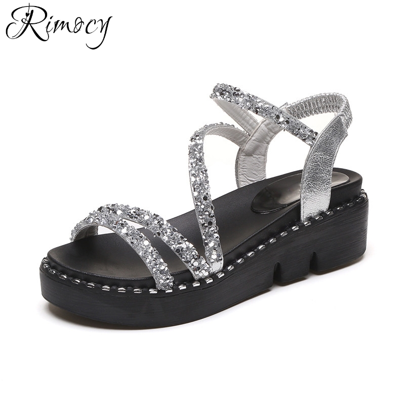 Rimocy shinning glitter silver platform sandals women 2017 fashion comfortable wedges summer shoes woman elegant sandalias mujer phyanic 2017 gladiator sandals gold silver shoes woman summer platform wedges glitters creepers casual women shoes phy3323