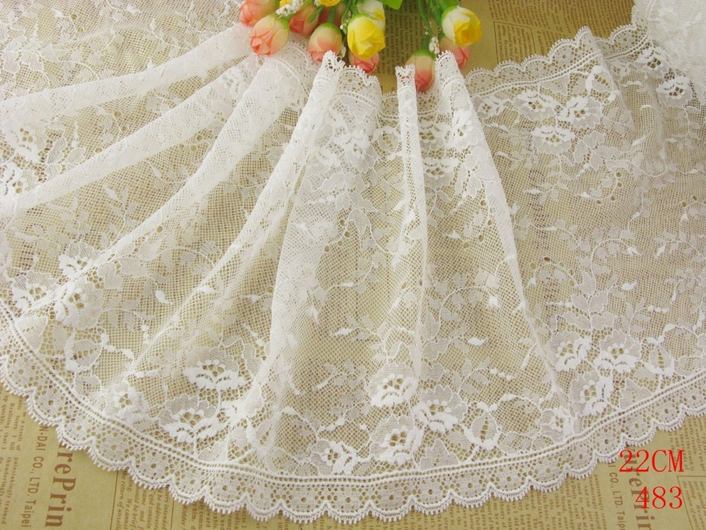"""Wholesale lot 9""""*1yard delicate Off white Elastic/Spandex Soft Flower Floral lace trim  DIY/sewing/Wedding Lace 483"""