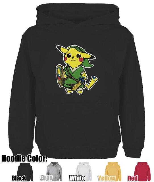 5f0dd1c73 Cute Pikachu Link Pokemon Zelda PikaLink Design Hoodie Men's Women's Winter  Cotton Printing Sweatshirt Tops