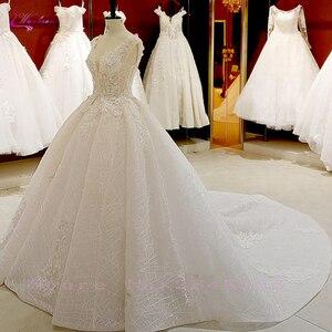 Image 2 - Waulizane V Yaka Of 3d Çiçekler Bir Çizgi düğün elbisesi Zarif Boncuk Etek Dantel Up gelinlik