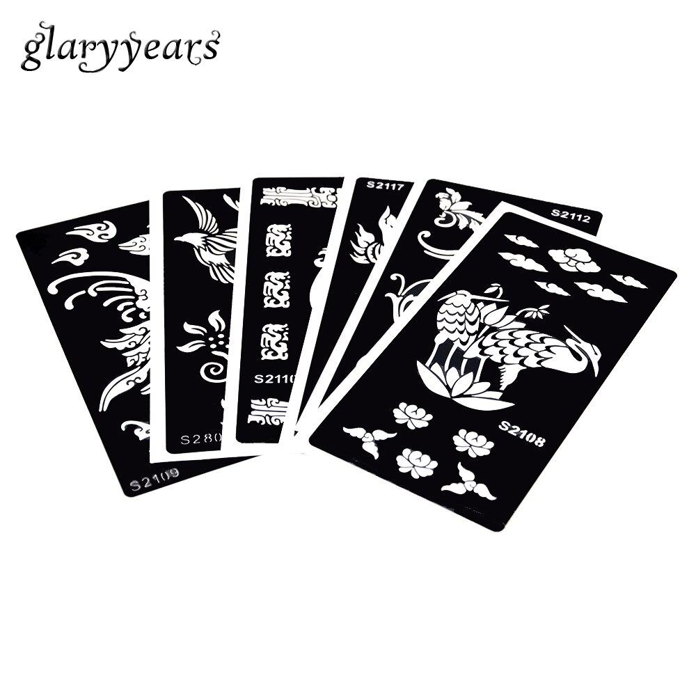 6 Arkuszy Papieru Szablon Tatuaż Henną Ptak Kwiat żuraw Wzór Wklej