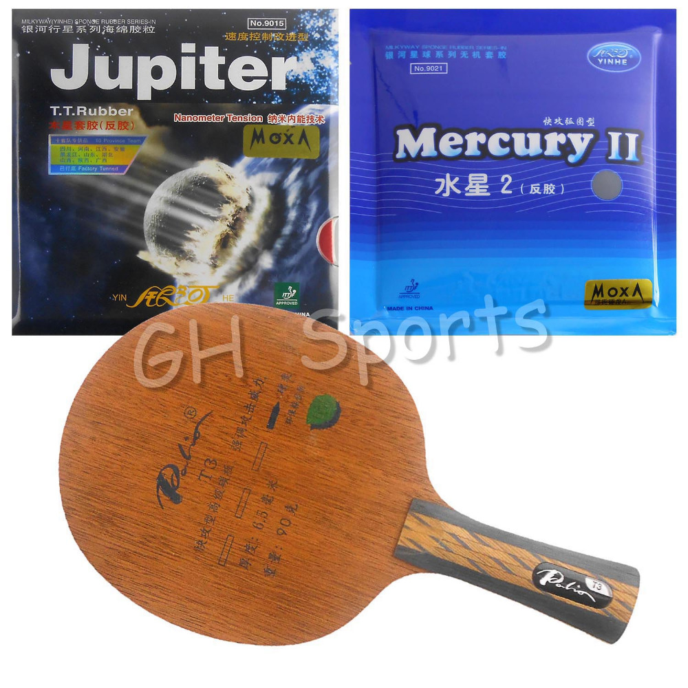 Pro Table Tennis PingPong Combo Racket Palio T3 with Galaxy YINHE Mercury II and Jupiter Factory Tuned Long shakehand FL pro table tennis pingpong combo racket galaxy yinhe mercury 13 with sun and moon factory tuned