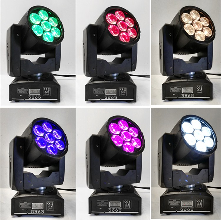 6pcs LED Moving Head Zoom Light 16 DMX Channel 7*12W RGBW 4IN1 Color Mixing DMX 7x12w Beam Light Moving Head Light Professional