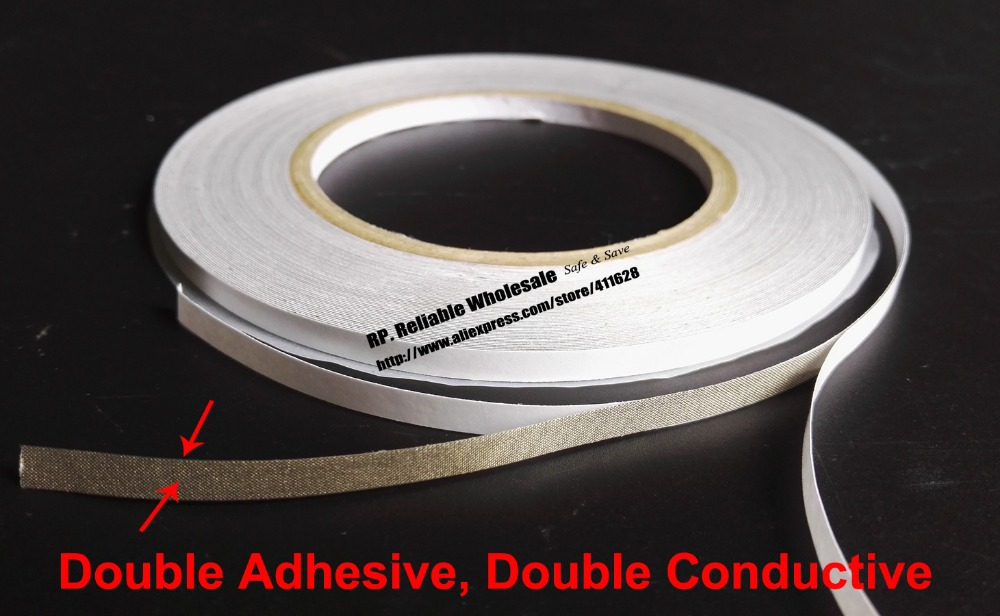 10x (6mm*20M) Double Sided Adhesive, Double Sided Conductive Fabric Cloth Tape for EMI Shielding Electromagnetic Waves Masking