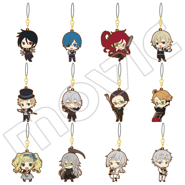 Ciel Phantomhive Sebastian Joker Dagger Undertaker Anime Black Butler Book of the Atlantic Japanese Rubber Keychain