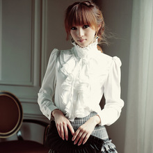 2016 Autumn Women Blouse shirt Elegant Retro White&Black Long sleeve Chiffon Stand Collar Basic Blusa Top S-XXL
