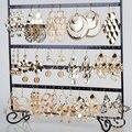 Смешать Оптом 12 Пар/лот Мода Полые Золотые Большие Серьги Падения Для Женщин Смешивать Стили Урожай Полые Позолоченный Болтаются Серьги