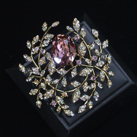 Europe and the United States exaggerated Austrian zircon three color brooch personality suit jacket pin brooch