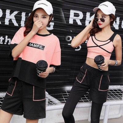 2019 Mode Goedkope Hot Fitness Vrouwen 4 Stuks Yoga Set Sport Bh & Yoga Broek & Gestreepte T-shirts Gym Kleding Sport Wear Running Outdoor Jog Superieure (In) Kwaliteit