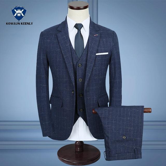 Aliexpress.com : Buy 3 Piece Plaid Blue Suit Men Slim Fit Elegant ...